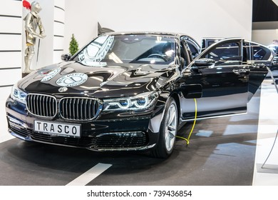 Frankfurt, Germany, September 13, 2017: Trasco Bremen Armored Premium Limousine BMW 740LE xDrive iPerformance G12 at 67th International Motor Show (IAA), anti-kidnapping, B4 a-kip