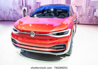 Frankfurt, Germany, September 13, 2017: metallic red Volkswagen VW I.D. CROZZ Concept autonomous electric SUV car ID at 67th International Motor Show (IAA),  sporty, zero-emission all-round vehicle