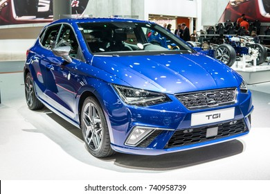 Frankfurt, Germany, September 13, 2017: metallic blue Seat New Ibiza TGI natural gas CNG at 67th International Motor Show (IAA)