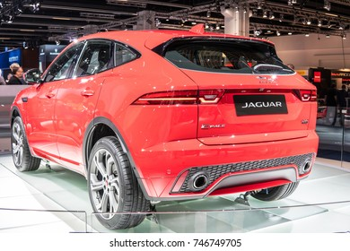 Frankfurt, Germany, September 13, 2017: metallic red Jaguar E-PACE R-DYNAMIC D180 HSE at 67th International Motor Show (IAA)