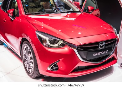 Frankfurt, Germany, September 13, 2017: metallic red Mazda 2 at 67th International Motor Show (IAA)