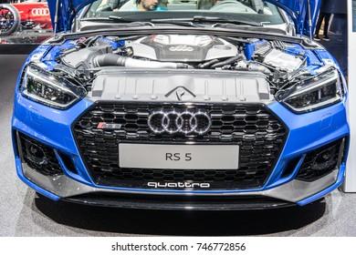 Frankfurt, Germany, September 13, 2017: metallic blue Audi RS 5 Coupe at 67th International Motor Show (IAA)