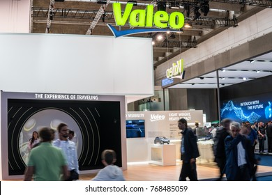 Frankfurt, Germany, September 13, 2017: innovation-focused Valeo stand with latest innovations for making cars smarter, safer, more intuitive and fuel efficient at 67th International Motor Show (IAA)