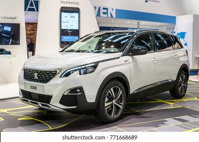 Frankfurt, Germany, September 13, 2017: TomTom Exclusively Presents the All-New PEUGEOT 5008 SUV at IAA Frankfurt at 67th International Motor Show (IAA)