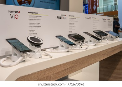 Frankfurt, Germany, September 13, 2017: TomTom Automotive booth, Navigation technology company, with service that helps drivers to avoid traffic at 67th International Motor Show (IAA)