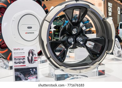 "Frankfurt, Germany, September 13, 2017: Hankook both, third generation of concept tyres and future study ""Ball Pin Tire"", Shiftrac technology at 67th International Motor Show (IAA)"
