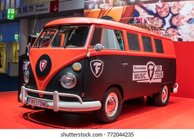Frankfurt, Germany, September 13, 2017: black and red Volkswagen VW Classic Transporter, Firestone Music Tour at 67th International Motor Show (IAA)
