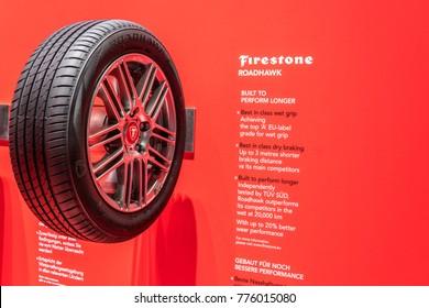 Frankfurt, Germany, September 13, 2017:  Aluminum rim with tubeless tire Firestone Roadhawk at 67th International Motor Show (IAA)