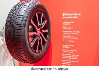 Frankfurt, Germany, September 13, 2017:  Aluminum rim with tubeless tire Firestone Destination HP at 67th International Motor Show (IAA)