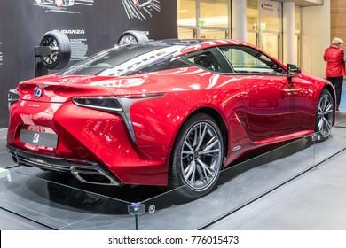 Frankfurt, Germany, September 13, 2017: metallic red LEXUS LC 500h hybrid with Bridgestone Turanza T005 at 67th International Motor Show (IAA)