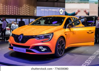 Frankfurt, Germany, September 13, 2017: World premiere: metallic yellow Renault Megane RS at 67th International Motor Show (IAA)