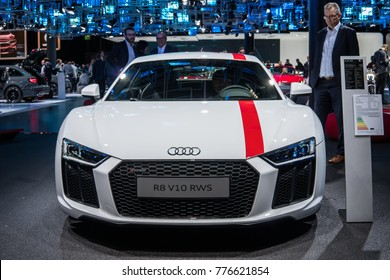 Frankfurt, Germany, September 13, 2017: white Audi R8 V10 RWS at 67th International Motor Show (IAA)