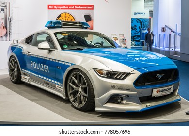 Frankfurt, Germany, September 13, 2017: Ford Mustang POLIZEI POLICE car at 67th International Motor Show (IAA)