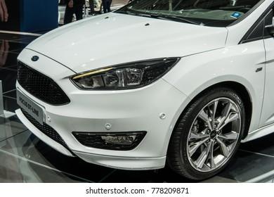 Frankfurt, Germany, September 13, 2017: metallic white Ford Focus ST-Line hatchback at 67th International Motor Show (IAA)