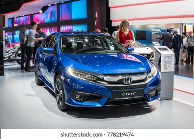 Frankfurt, Germany, September 13, 2017: metallic blue Honda new Civic 4D at 67th International Motor Show (IAA), sedan