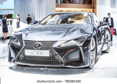 Frankfurt, Germany, September 13, 2017: metallic graphite grey LEXUS LC 500 LUXURY COUPE EXHILARATING DRIVE at 67th International Motor Show IAA