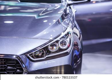 Frankfurt, Germany, September 13, 2017: metallic graphite Hyundai new i30 Fastback at 67th International Motor Show (IAA)