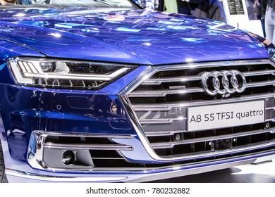 Frankfurt, Germany, September 13, 2017: metallic blue Audi A8 55 TFSI quattro at 67th International Motor Show IAA