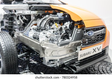 Frankfurt, Germany, September 13, 2017: Subaru booth, cross section of metallic orange Subaru XV at 67th International Motor Show IAA
