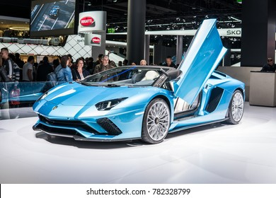 Frankfurt, Germany, September 13, 2017: metallic blue Lamborghini Aventador S Roadster at 67th International Motor Show IAA
