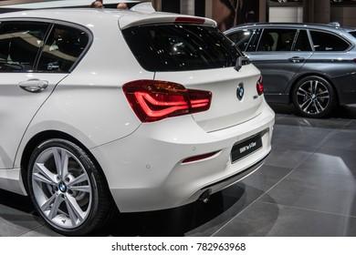 Frankfurt, Germany, September 13, 2017: metallic white BMW 1 Series 5-door Fast Love at 67th International Motor Show IAA