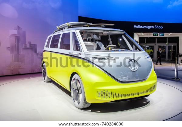 Frankfurt, Germany, September 13, 2017: metallic silver yellow Volkswagen VW ID Buzz Concept Car at 67th International Motor Show (IAA)