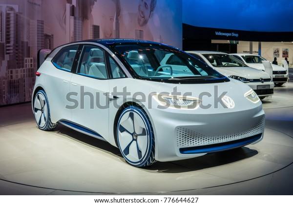 Frankfurt, Germany, September 13, 2017: metallic white Volkswagen VW I.D. Concept autonomous electric car ID at 67th International Motor Show (IAA)