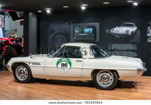 Frankfurt, Germany, September 13, 2017: classic roadster Mazda Cosmo Sport 110S with wankel two-disc rotary piston engine at 67th International Motor Show IAA