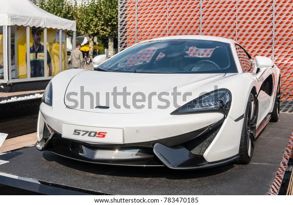 Frankfurt, Germany, September 13, 2017: white McLaren Sports Series 570s Coupe at 67th International Motor Show IAA