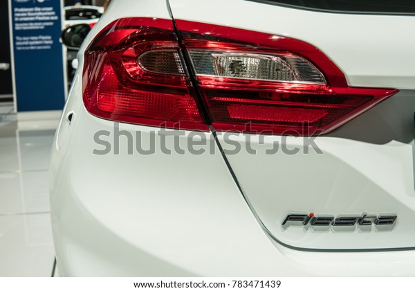 Frankfurt, Germany, September 13, 2017: rear LED lights lamp of  new Ford Fiesta at 67th International Motor Show IAA, logo, emblem