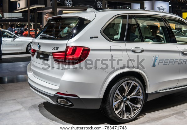 Frankfurt, Germany, September 13, 2017: metallic white BMW X5 xDrive40e plug-in hybrid iPerformance at 67th International Motor Show IAA