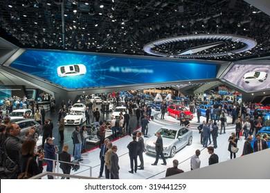 "FRANKFURT, GERMANY - SEPTEMBER 16, 2015: Frankfurt international motor show (IAA) 2015. AUDI forum ""AGORA"