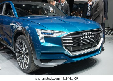 FRANKFURT, GERMANY - SEPTEMBER 16, 2015: Frankfurt international motor show (IAA) 2015. Audi e-tron quattro concept - world premiere.