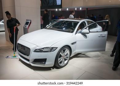 FRANKFURT, GERMANY - SEPTEMBER 16, 2015: Frankfurt international motor show (IAA) 2015.Jaguar XF new