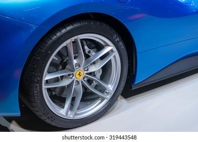FRANKFURT, GERMANY - SEPTEMBER 16, 2015: Frankfurt international motor show (IAA) 2015. Ferrari 488 Spider - world premiere.