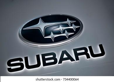 FRANKFURT, GERMANY - SEPTEMBER 19, 2017; The logo of the brand subaru. Subaru is a  japanese car manufactuar.