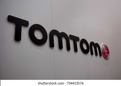 FRANKFURT, GERMANY - SEPTEMBER 19, 2017; The logo of the brand Tomtom. Tomtom is a producer of navigation systems and comes from the netherlands.