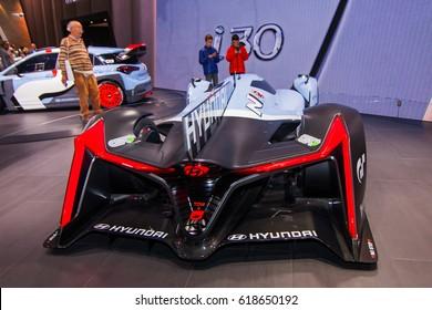 FRANKFURT, GERMANY - September 23, 2015:  Hyundai N 2025 Vision Gran Turismo presented on the 66th International Motor Show in the Messe Frankfurt