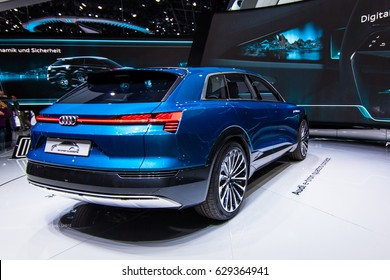 FRANKFURT, GERMANY - September 23, 2015: Audi e-tron quattro concept presented on the 66th International Motor Show in the Messe Frankfurt