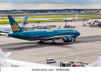 FRANKFURT, GERMANY - SEPTEMBER 25, 2015: airplane of  VIETNAM Airlines in the Frankfurt airport on September 25,2015 in Frankfurt,Germany. Vietnam Airlines is the flag carrier of Vietnam.