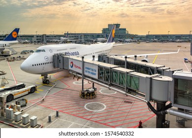 Frankfurt / Germany - September 26, 2017: Frankfurt Airport (Flughafen Frankfurt am Main), one of the world's busiest airports and the main hub for Lufthansa, the largest airline in Europe