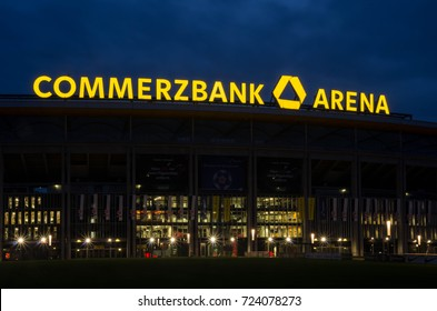 FRANKFURT GERMANY - September 28 2017: View of the Commerzbank Arena in Frankfurt am Main, Germany during blue hour.