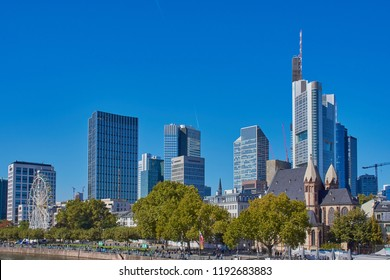 Frankfurt, Germany - September 30, 2018: Cityscape of Frankfurt a. M. with its skyscrapers, view e.g. to Commerzbank building.