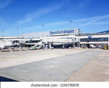FRANKFURT, GERMANY - SEPTEMBER 5 2018: Terminal building at Frankfurt Airport, Germany. Frankfurt Airport is the busiest airport in Germany, the third busiest in Europe