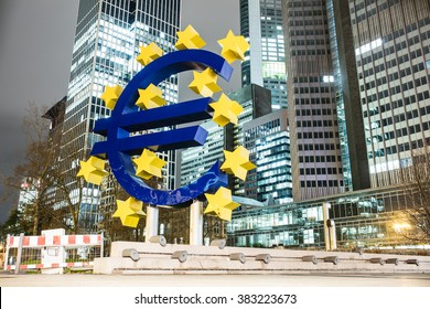 Frankfurt, Germany-November 29 2015 : Euro Sign. European Central Bank (ECB) is the central bank for the euro and administers the monetary policy of the Eurozone.