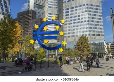 Frankfurt, Germany-OCT 28, 2016 : Euro Sign. European Central Bank (ECB) is the central bank for the euro and administers the monetary policy of the Eurozone.