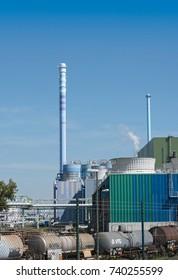 FRANKFURT, GERMANY-OCTOBER 18, 2017: toxic waste incineration plant near Frankfurt, Germany