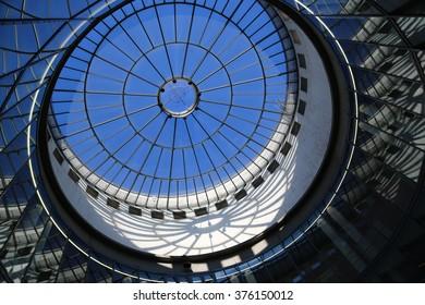 Frankfurt glass dome reflections