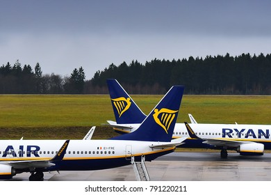 FRANKFURT HAHN,GERMANY-JANUARY 06,2018:RYANAIR Boeing 737 lands at airtport.Ryanair- Irish low-cost airline headquartered in Swords, a suburb of Dublin, Ireland.