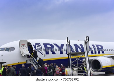 FRANKFURT HAHN,GERMANY-NOV 04: RYANAIR Boeing 737 lands at airtport on November 04,2017 in Frankfurt Hahn, Germany.Ryanair- Irish low-cost airline headquartered in Swords, a suburb of Dublin, Ireland.